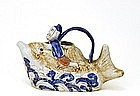 Old Japanese Imari Hirado Style Teapot Man Ride Fish