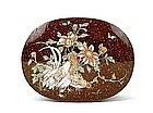 Japanese Cloisonne Goldstone Chicken Group Box