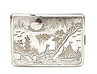 Old Chinese Export Silver Cigarette Case w Ship Mk