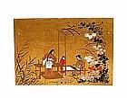 Old Japanese Screen Gold Leaf Weaving Scene