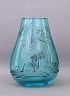Chinese Etched Acqua Glass Vase w Crane Sg