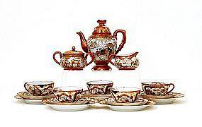 Old Japanese Kutani Satsuma Style Teapot Tea Set Sg