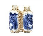 19C Chinese Blue & White 2 Snuff Bottle