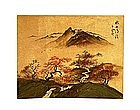 Old Japanese Screen Gold Leaf Scene Sg