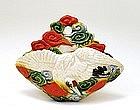 Old Japanese Banko Crane Wall Vase Mk