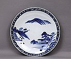 Old Japanese Blue & White Imari Charger Farm Scene