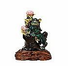 Old Japanese Kutani Fu Dog Lion Candle Holder w Lotus