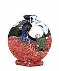 Japanese Pink Sumida Gawa Moon Vase w Figurine