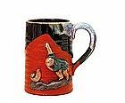 Old Japanese Sumida Gawa Monkey Mug Tankard Cup Sg