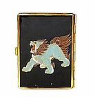 Old Japanese Lacquer Cigarette Case Fu Lion Dog