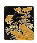 Old Japanese Makie Lacquer Writing Box Suzuri-bako Sg