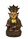 15C Ming Chinese Gilt Bronze Seated Buddha