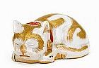Old Japanese Kutani Sleeping Cat Neko Mk
