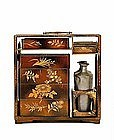 Old Japanese Makie Lacquer Sake Chest Box Lunch Set