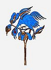 19C Chinese Kingfisher Feather Hair Pin