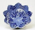 Old Japanese Blue & White Imari Bowl Transfer Print