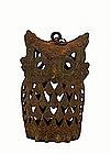 Old Japanese Cast Iron Owl Garden Lamp Lantern