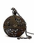 Old Japanese Cast Iron Ball Shp Garden Lamp Lantern