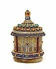 Chinese Filigree Silver Jade Enamel Jewel Pagoda Box Mk