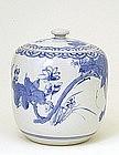 Old Japanese Blue & White Imari Mizusashi Tea Water Jar