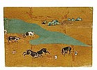 Old Japanese Screen Leaf Gilt Painting Ox Scene