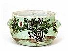 Old Japanese Celadon Imari Bowl w Fu Lion Ear