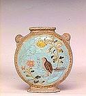 Old Japanese Banko Ware Vase w Birds