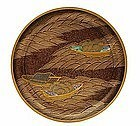 5 19C Japanese Makie Lacquer Pearl Plate w Boat