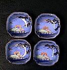 4 Old Japanese Cobalt Blue Imari Farm House Scene Bowl