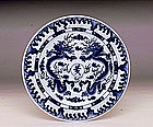 5 Old Japanese Blue & White Kutani Dragon Plate Mk