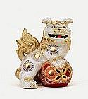 Old Japanese White Kutani Shishi Fu Foo Dog Lion Mk