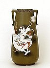 Lg Old Japanese Nippon Satuma Moriage Dragon Vase