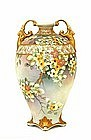 Old Japanese Moriage Nippon Beaded Vase Mk