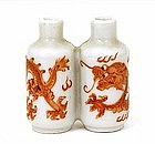 Old Chinese Famille Rose Dragon Snuff Bottle Mk