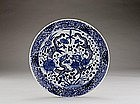 Old Chinese Export Blue & White Double Dragon Plate