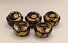 5 Old Japanese Makie Lacquer Cov Bowl w Leaves