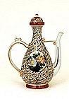 Old Japanese Kutani Winepot Teapot 1000 Crane Bird