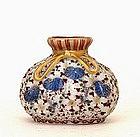 Old Japanese Kutani Moriage Bag Shape Vase Sg
