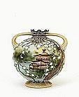 Old Japanese Nippon Moriage Temple Scene Vase Mk