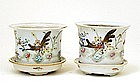2 Old Chinese Famille Rose Planter Butterfly