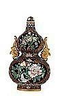 Chinese Cloisonne Gourd Vase Flower Gilded Ears