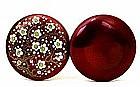 Japanese Cloisonne Pigeon Blood Plum Blossom Cover Box