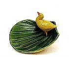 Old Japanese Banko Ware Duck on Leaf  Bowl