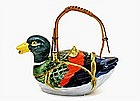 Old Japanese Banko Ware Duck Bird Shape Teapot MK