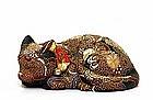 Old Japanese Kutani Moriage Sleeping Cat Neko Mk