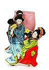 Old Japanese Banko Ware Geisha Drum Wall Vase
