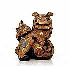 Old Japanese Kutani Red & Black Fu Foo Dog Lion Sg