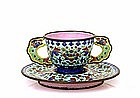 19C Chinese Export Enamel Cloisonne Cup & Saucer