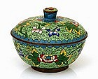 Old Chinese Export Enamel Cloisonne Cov Bowl Mk