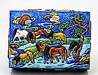 Old Chinese Export Enamel Cloisonne Repousse Box Horse